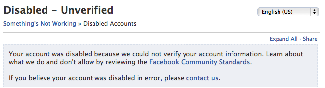 Facebook Disabled and Unverified