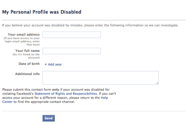 Facebook Disabled Account contact form