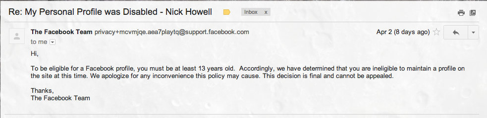 Email message about underaged Facebook rules