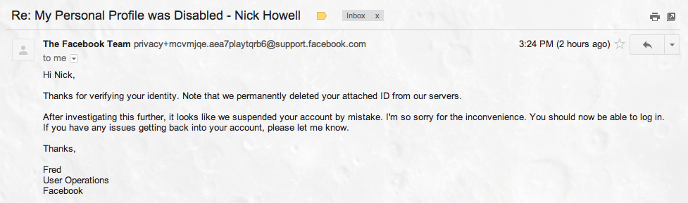 Email from Facebook apologizing for disabling my account