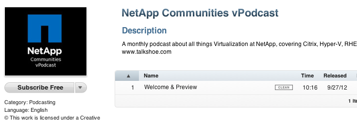 NetApp Communities vPodcast in iTunes