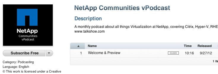 NetApp Communities vPodcast in iTunes