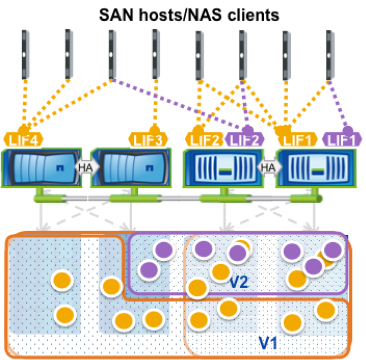 clustered ontap san nas client connections